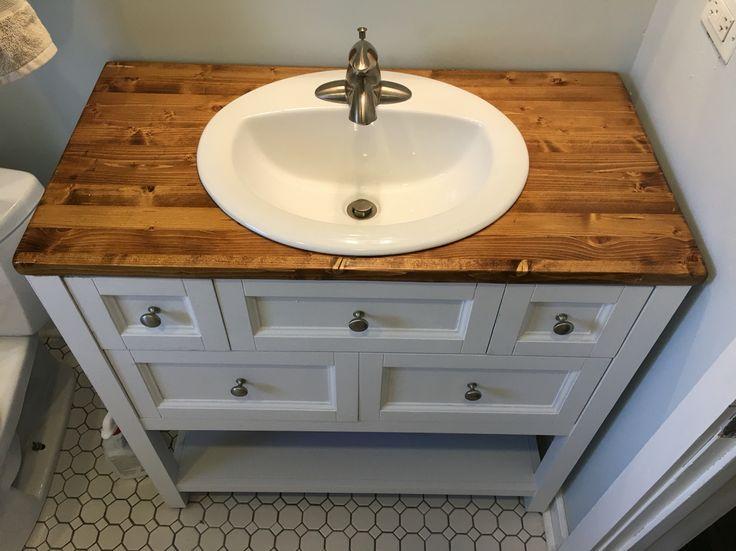 Wood Top With Chalk White Distressed Vanity Bathroom Pinterest Tops Woods And Vanities