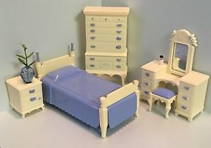 Ideal Blue Ivory Bedroom Set Vintage Dollhouse Furniture 1 16 | eBay