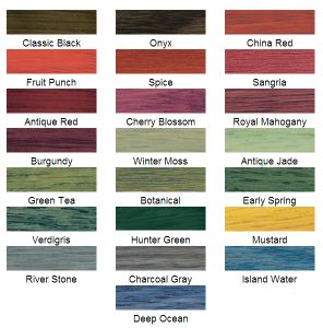 Wood stain color chart for colors beyond natural wood tones.