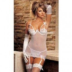 Plus Size Bigger Sexy Half Open Bust 3pcs/set Lace Bustier Lingerie with Garter Belt G-string (White)