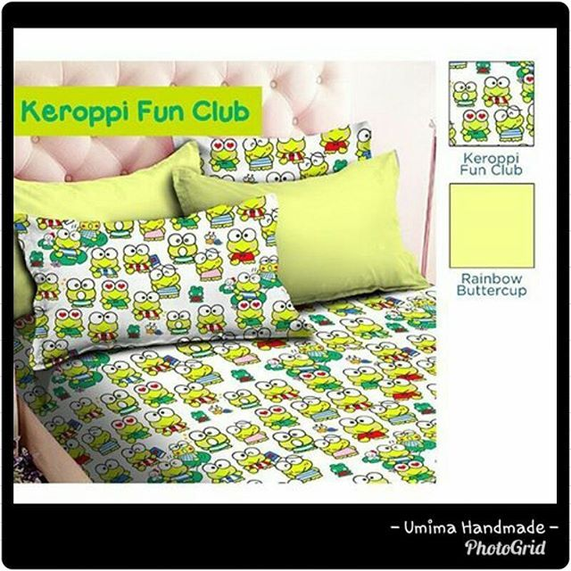 #keropi #keroppistuff #spreikeropi #green #spreikodok #sprei #bedding #bedsheet #bedcover #spreihijau #spreikombinasi #bedroom #bedroomdesign #umimahandmade #umimahandmadecolection #umima Katun Lokal / SET SPREI Single I (bed no 4) 100x200x20= IDR 125.000- Single II (bed no 3) 120x200x20= IDR 145.000- Queen (bed no 2) 160x200x20= IDR 185.000- King (bed no 1) 180x200x20= IDR 195.000- Extra King (Extra Besar) 200x200x20= IDR 215.000- Katun Lokal / SET SPREI & BEDCOVER Single I (uk BC:150X240)…