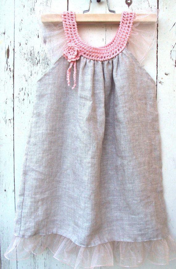 Summer baby girl dress Linen Organic dress/ forest por TheBabemuse