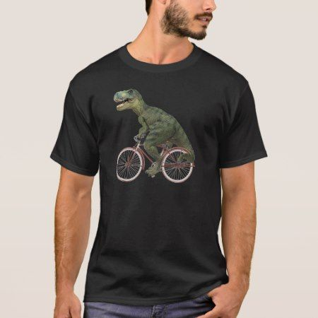 Tyrannosaurus T.Rex Dinosaur Bicycle Cycling T-Shirt - click/tap to personalize and buy