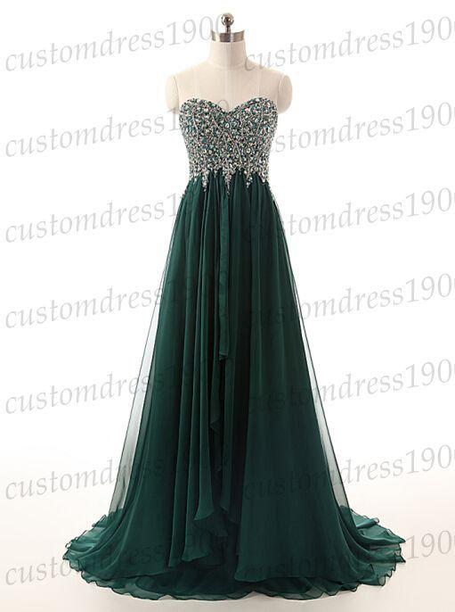 100% Handmade beading chiffon prom by customdress1900 on Etsy