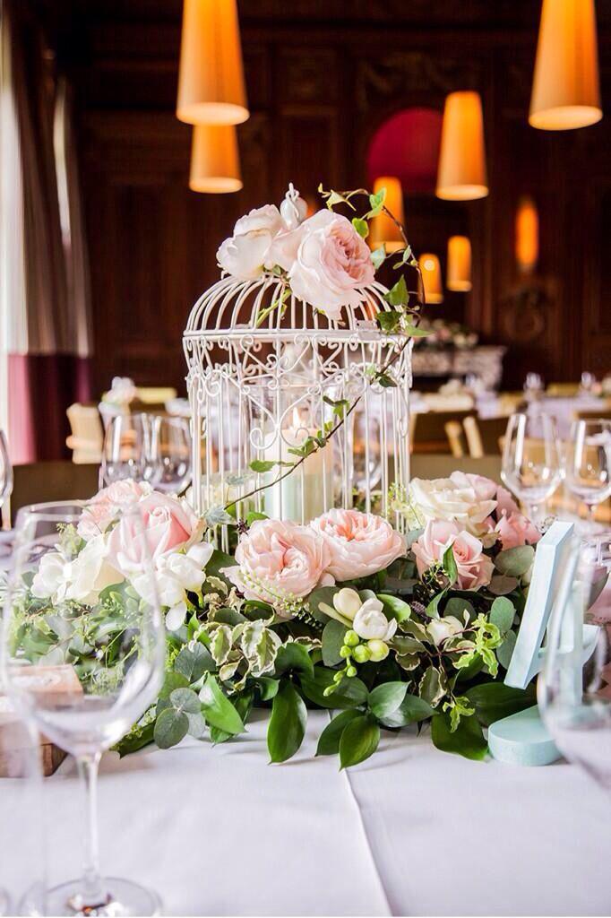 Stephanie Saunders Floral Design garden rose birdcage arrangement