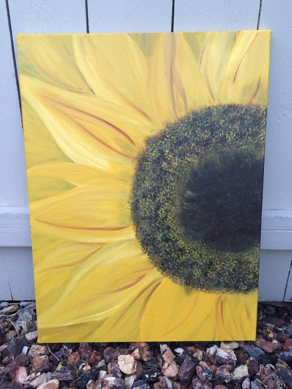 Blooming sunflower canvas painting. Sunflower painting, acrylic sunflower in full bloom canvas, yellow sunflower, sunflower art, wall art 18 x 24 hand painted original sunflower canvas. Painted with high quality acrylic paints on a stretched canvas. This painting has lots of gorgeous yellow hues with a touch of burnt sienna and a luscious dark brown center that looks like you could almost feel the velvety center. Beautiful painting for a focal piece and for above a fireplace on a mantle…