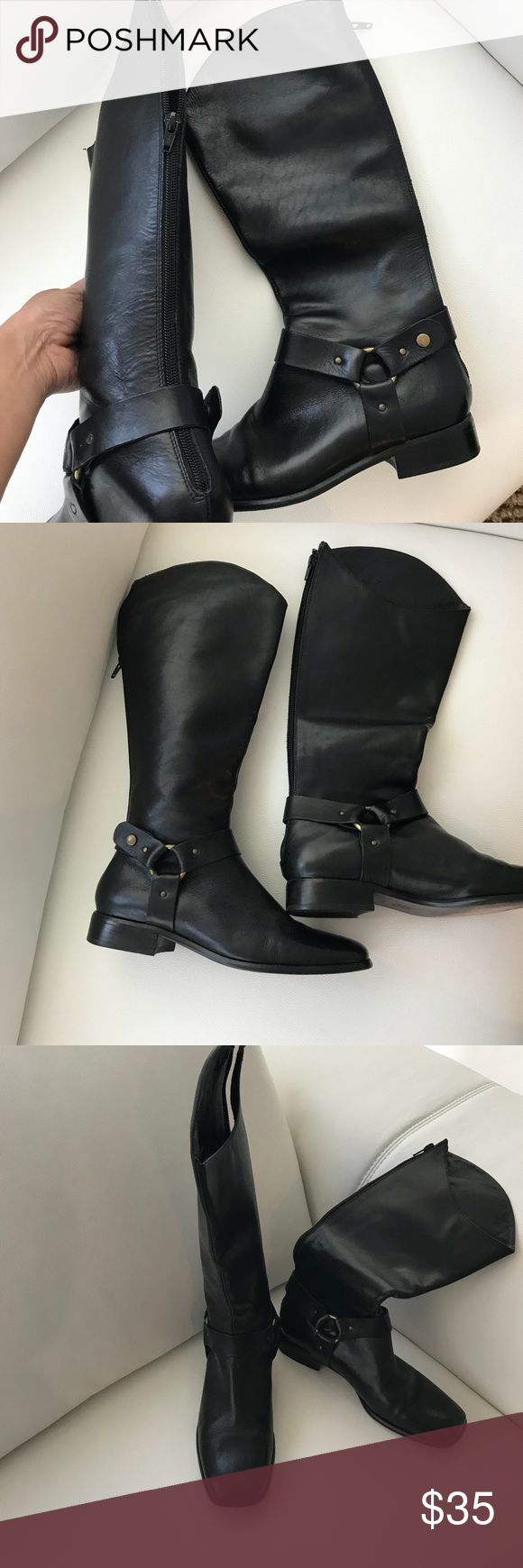 Charles David Black Boots size 7b Charles David Black Boots with zippered back and ankle accents size 7b Charles David Shoes