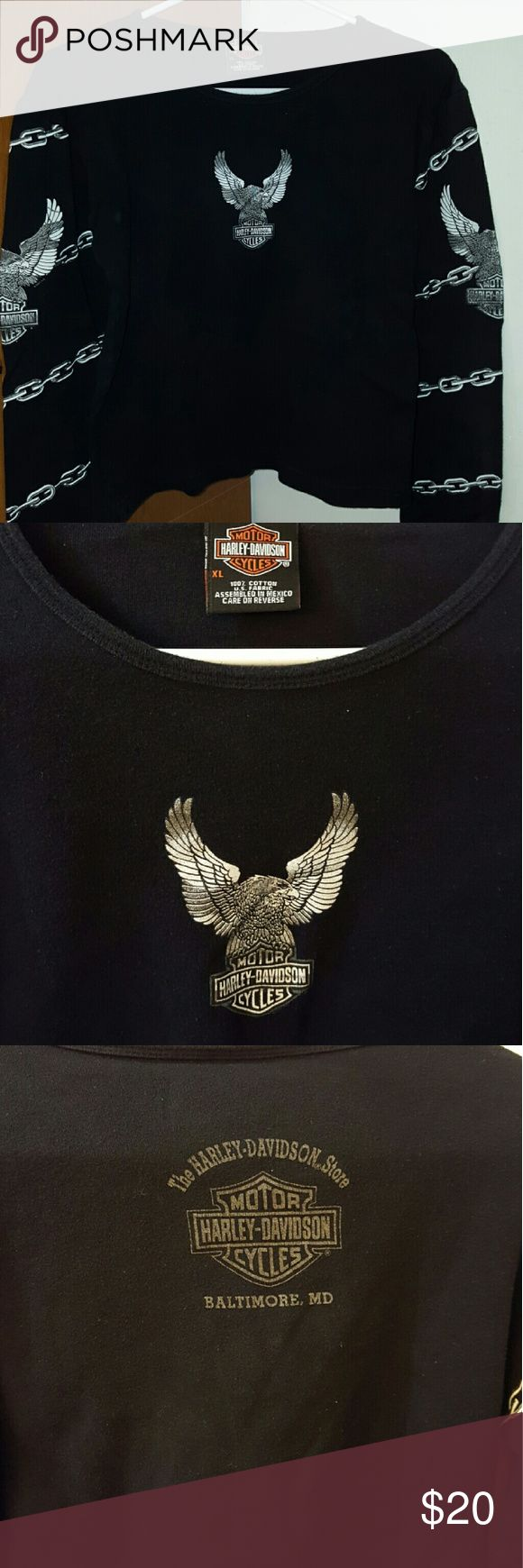 Ladies, Long sleeve Harley T shirt Black, Eagle on front, sleeves have chain link pattern and eagle design, back shows Baltimore HD Harley-Davidson Tops Tees - Long Sleeve