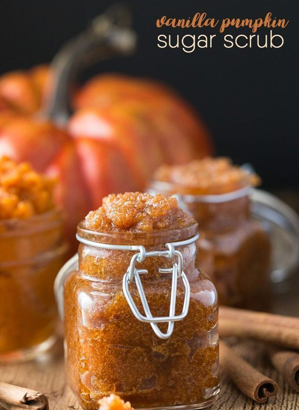 Vanilla Pumpkin Sugar Scrub Recipe - Got leftover pumpkin? Make this simple and sweet DIY beauty scrub. It feels great on your skin for exfoliating.