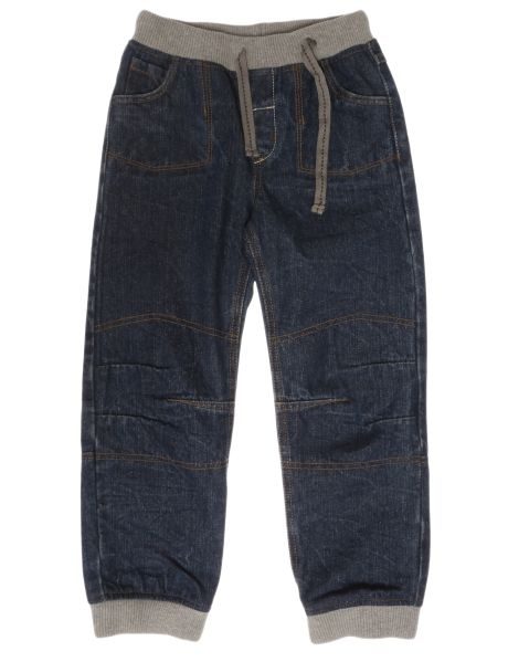 Comfortable jeans with pull on waistband with an external drawstring.