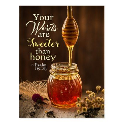 Psalm 119:103 Your Words are Sweeter than Honey Postcard - personalize gift idea special custom diy or cyo