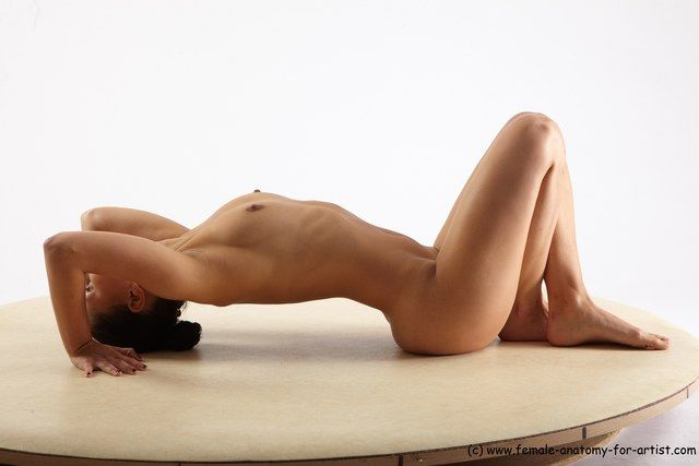 PHOTO OF NUDE WOMAN WHITE LAYING POSES - ALL SLIM LAYING POSES - ON BACK LONG BROWN