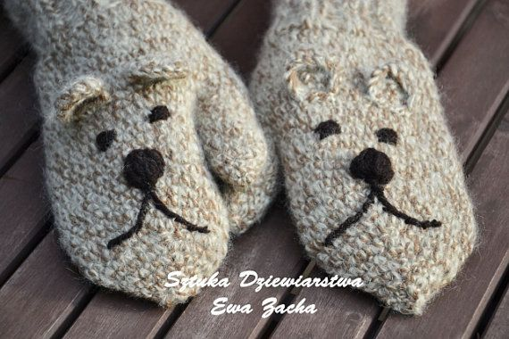 Teddy Bear mittens , Crochet  Beige Mittens with a brown threads, gloves in handmade-warmers