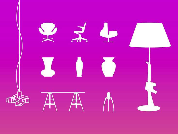 Clean and stylish vector illustration of various interior design elements. You can see different kinds of furniture, decoration and accessories. There are three chairs, three vases, a table, two lamps and a little accessory that looks similar to a bug-inspired juicer by designer Philippe Starck. Modern Home Vector by Fakoly