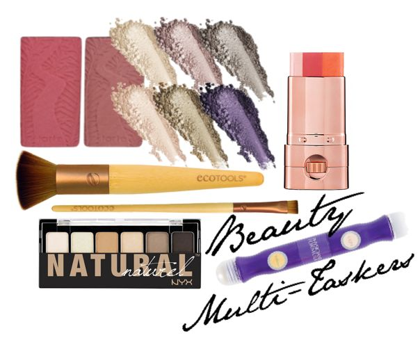 From concealers and correctors to multi-colored lipsticks,or even three in one balms, these types of products can save you lots of space. Buffing Brush: Apply blush, bronzer, or powder foundation and highlighter. Eye Palette: Use your flat liner brush dipped in water to turn a shadow into a liner. Built in SPF:  Swipe on a body bronzer with SPF using your face and body sculpting brush or slather on a moisturizer/SPF combo - See more at: http://blog.ecotools.com/page/3/#sthash.HxRAgDIR.dpuf