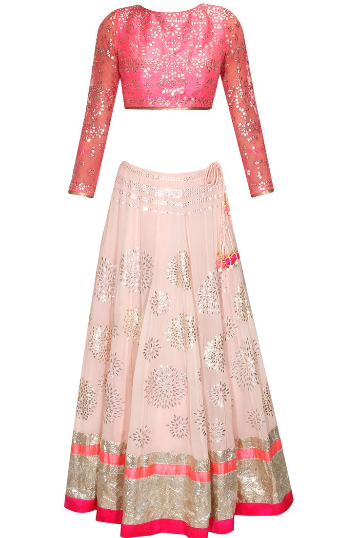 Blush pink and silver gota patti embroidered lehenga set available only at Pernia's Pop Up Shop.