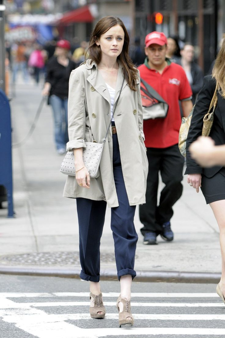trench with blue pants