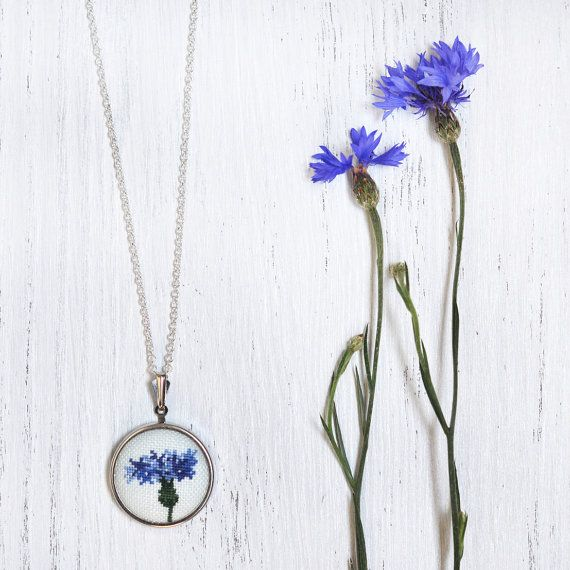 Cornflower Blue Necklace. Blue Statement Necklace. Blue Flower Jewelry. Small Blue Pendant. Textile Statement Jewelry.…