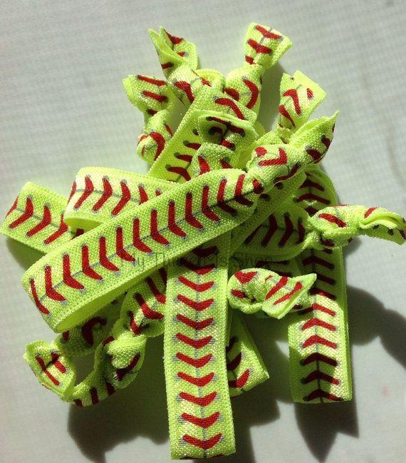 Softball Hair Tie, elastic Hair Tie, Foldover Elastic, softball bracelet, Sport Band, softball ponytail, softball mom, yellow red stitch on Etsy, $9.00