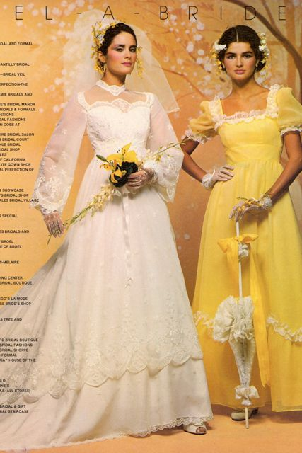 1970s wedding dress and bridesmaid dress in catalog.
