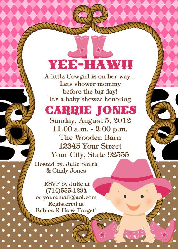 Charming Baby Cowgirl Baby Shower InvitationYOU By LCsCustomInvitations
