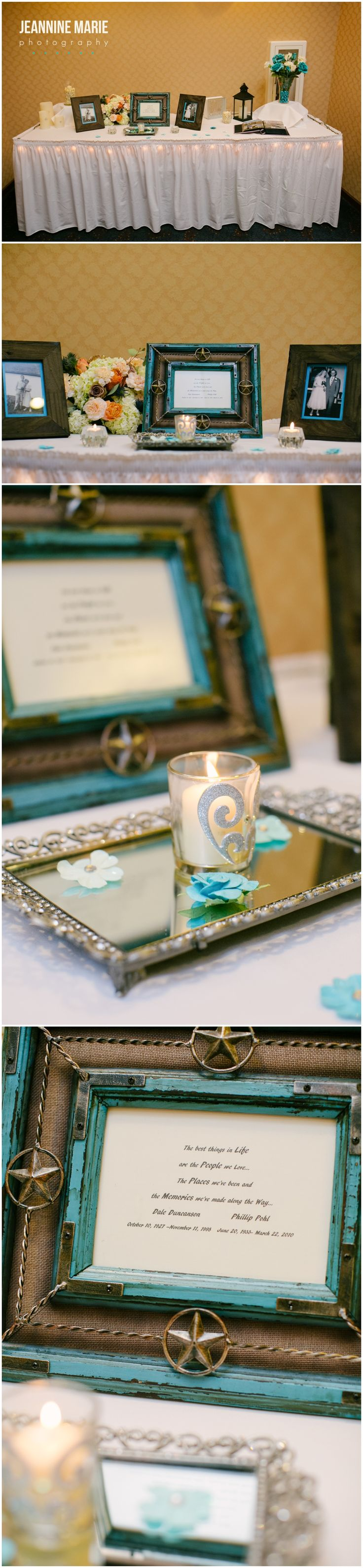 Wedding memorial table at reception at Jackpot Junction Casino Hotel photographed by Saint Paul wedding photographer Jeannine Marie Photography #memorabilia #memorialtable #inloveingmemory #weddingideas #weddingreception #twincitiesweddingphotographer #jeanninemariephotography