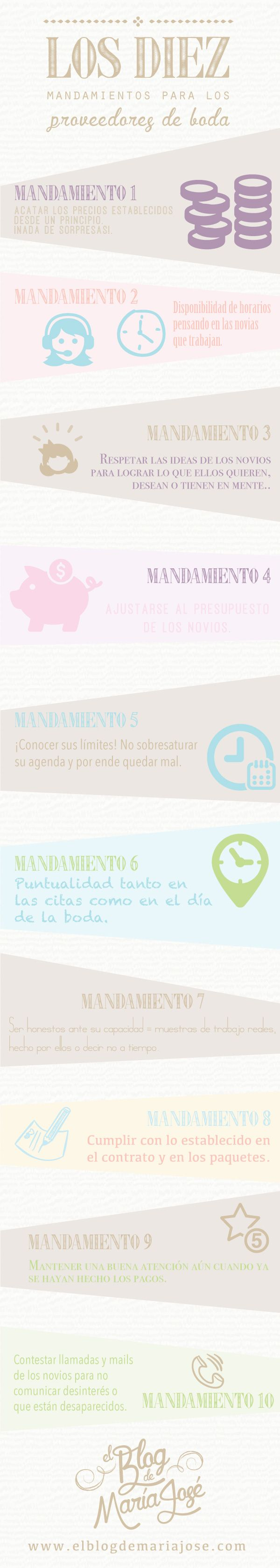 Los diez mandamientos para los proveedores de boda #bodas #ElBlogdeMaríaJosé #proveedoresboda #infografía