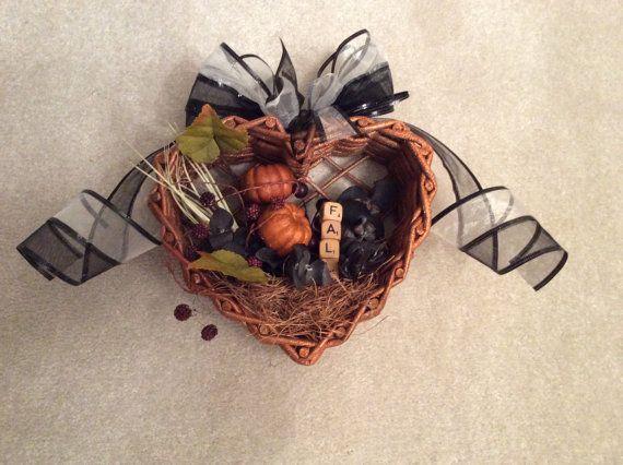 Wicker heart fall wall or door hanging, fall decor, fall hanging basket, pumpkin decor, small fall basket wreath,