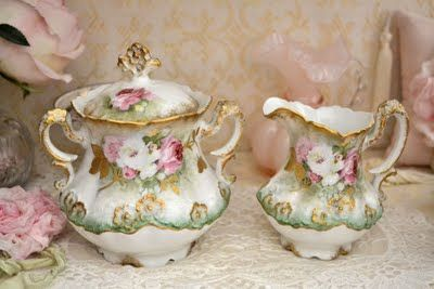 Hand painted porcelain with pink roses  ~ my weakness.