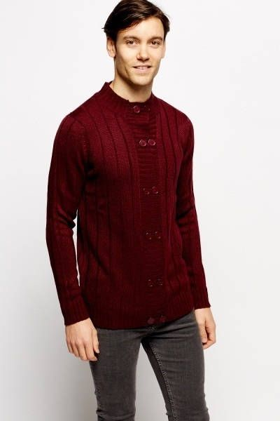 Ribbed High Neck Double Breasted Cardigan