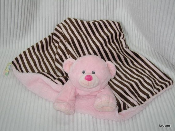 Pink Teddy Bear Security Blanket Features The Head Torso