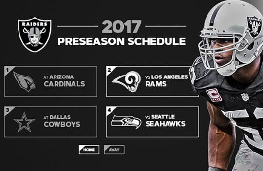 Oakland Raiders 2017 Preseason Opponents Announced