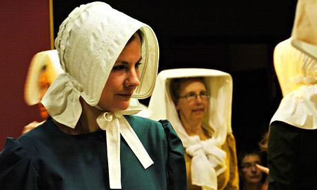 """Women wearing 'gooks' at Lowender Peran Celtic Festival, Perranporth."" Photograph: Perran Tremewan"