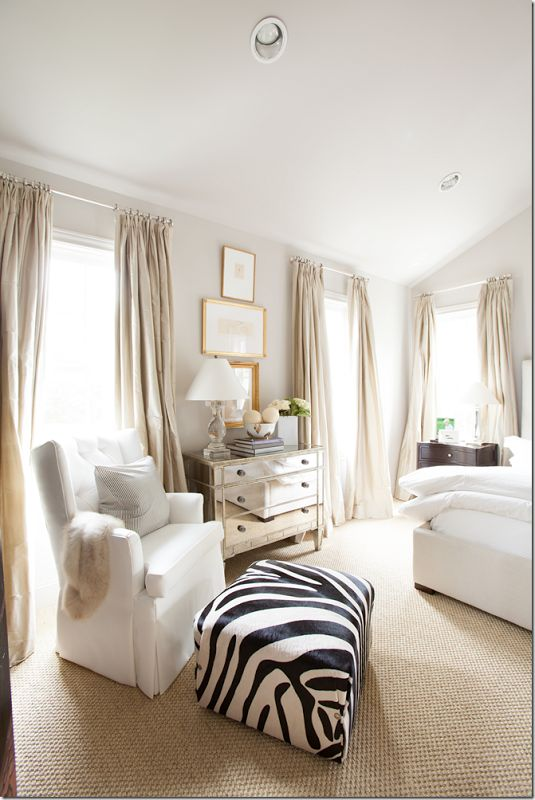 Ashely Goforth. Gold frames, white, and gray bedroom