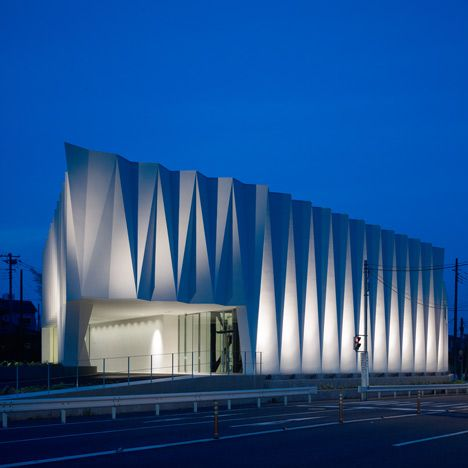 Zig-zagging pleats for the facade of the Wedding Centre in Saitama, Japan, by architect Hironaka Ogawa