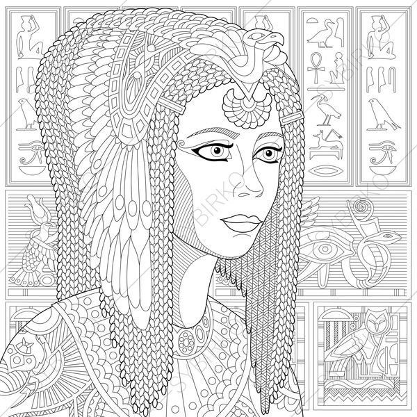 Egyptian Queen Cleopatra 2 Coloring Pages Coloring Book Etsy