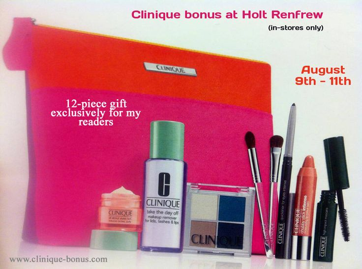 Call the Clinique counter at Holt Renfrew today and preorder this gift. If you mention my website http://clinique-bonus.com/canada/ you will receive 12pc gift set. With $75 purchase.
