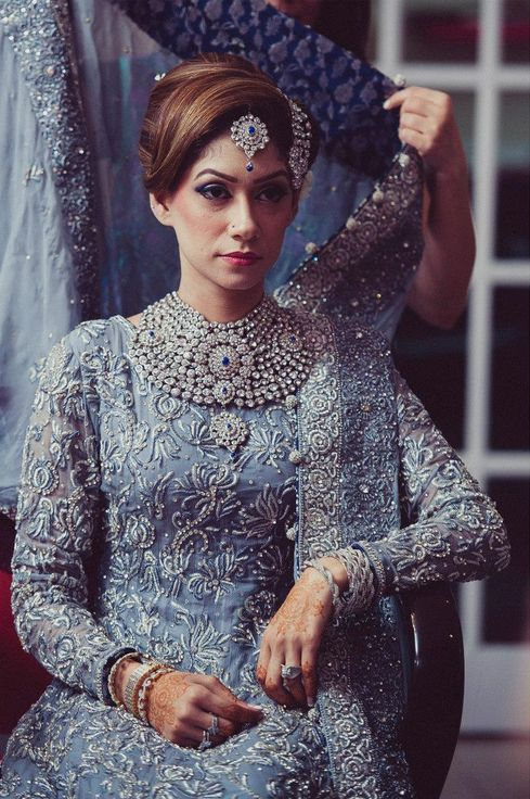 Pakistani bride in baby blue, Photo by:Asghar Hussain