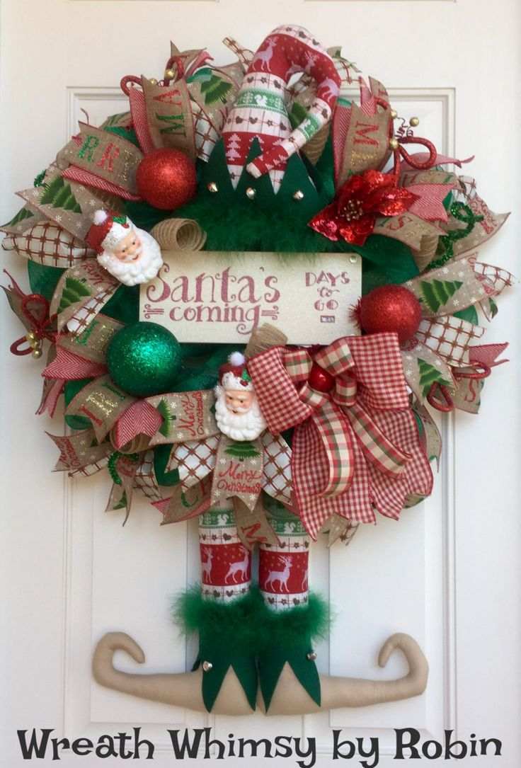 Rustic Deco Mesh Christmas Elf Wreath in Emerald Green and Red, Holiday  Wreath, Country