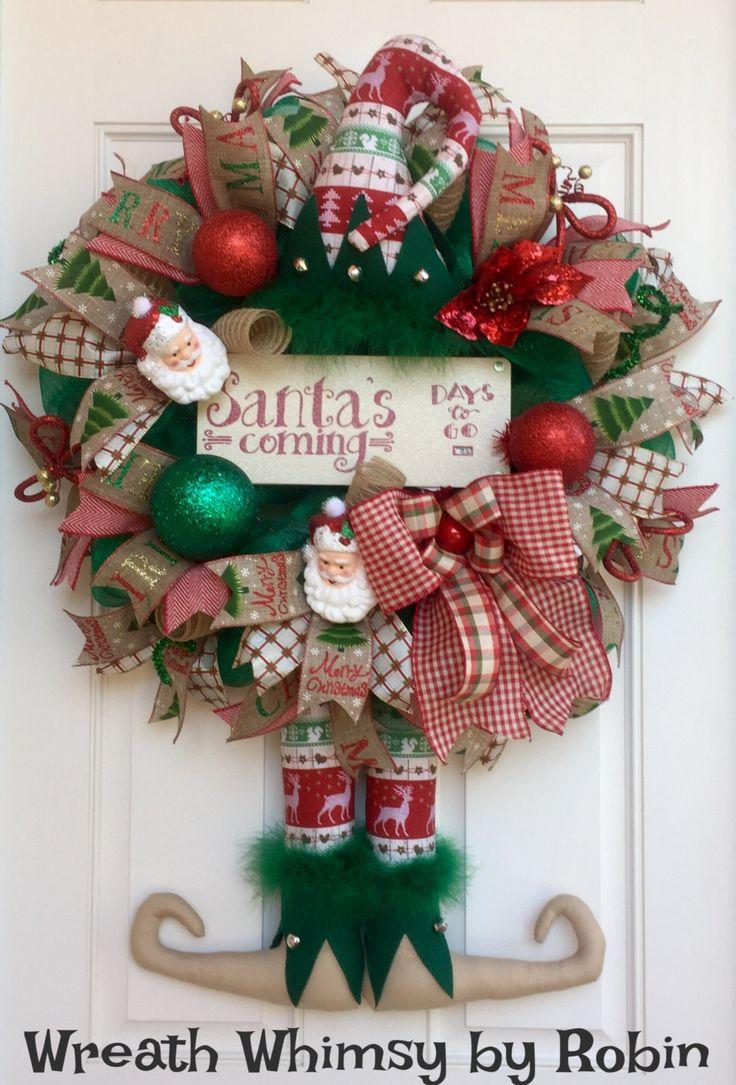 Rustic Deco Mesh Christmas Elf Wreath in