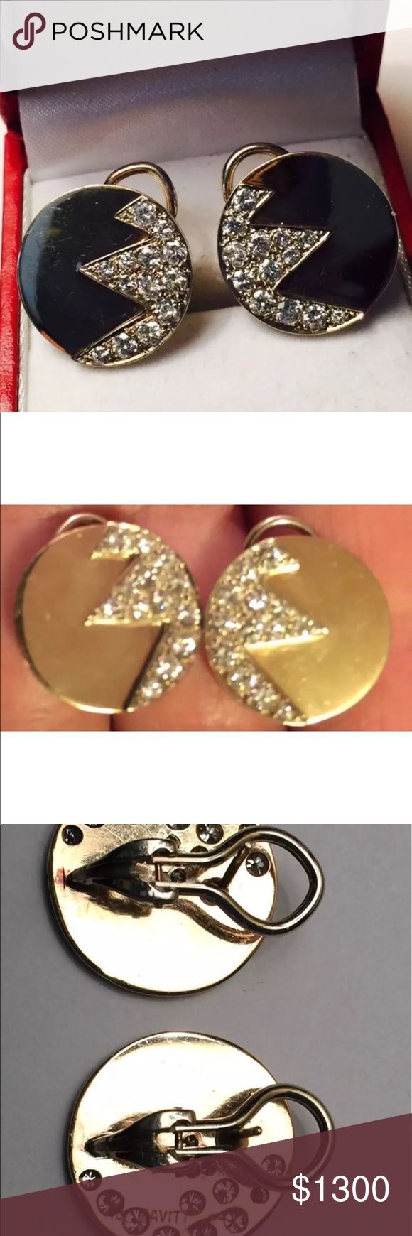 Art- deco inspired gold and diamond earrings Savitt  Sisters  yellow and white gold disc earrings with jagged diamonds (13 on each) . 1 carat total of brilliant stones. Post with omega clips on back. savitt Sisters Jewelry Earrings