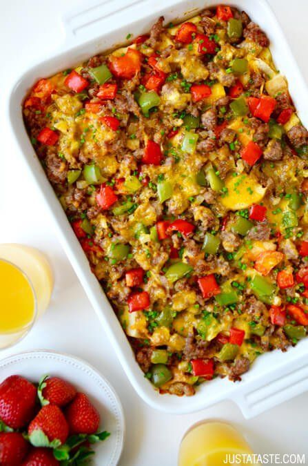 Overnight Egg Casserole with Breakfast Sausage recipe via http://justataste.com | This is the ultimate make-ahead meal for any size crowd!