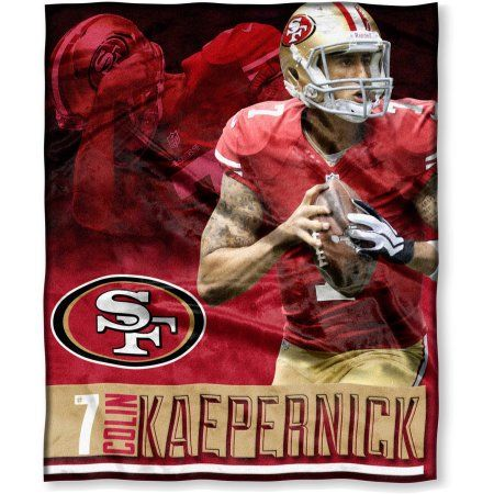 NFL Players Associate Colin Kaepernick 50 inch x 60 inch San Francisco 49ers Players High Definition Silk Touch Throw, Multicolor