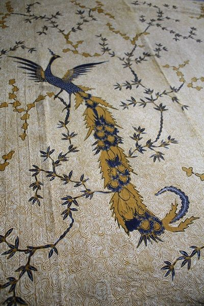 "Old handwritten batik in ""Merak kembar"" pattern, the detail - Solo, Central Java"