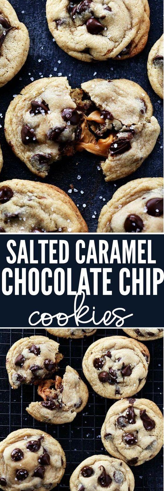 Salted Caramel Stuffed Chocolate Chip Cookies | Pechenuhi