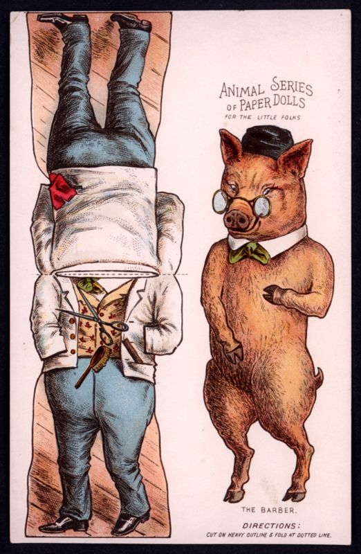 Pig - The Paper Collector: Animal Series of Paper Dolls, c. 1890s at http://thepapercollector.blogspot.com/2012/11/animal-series-of-paper-dolls-c-1890s.html