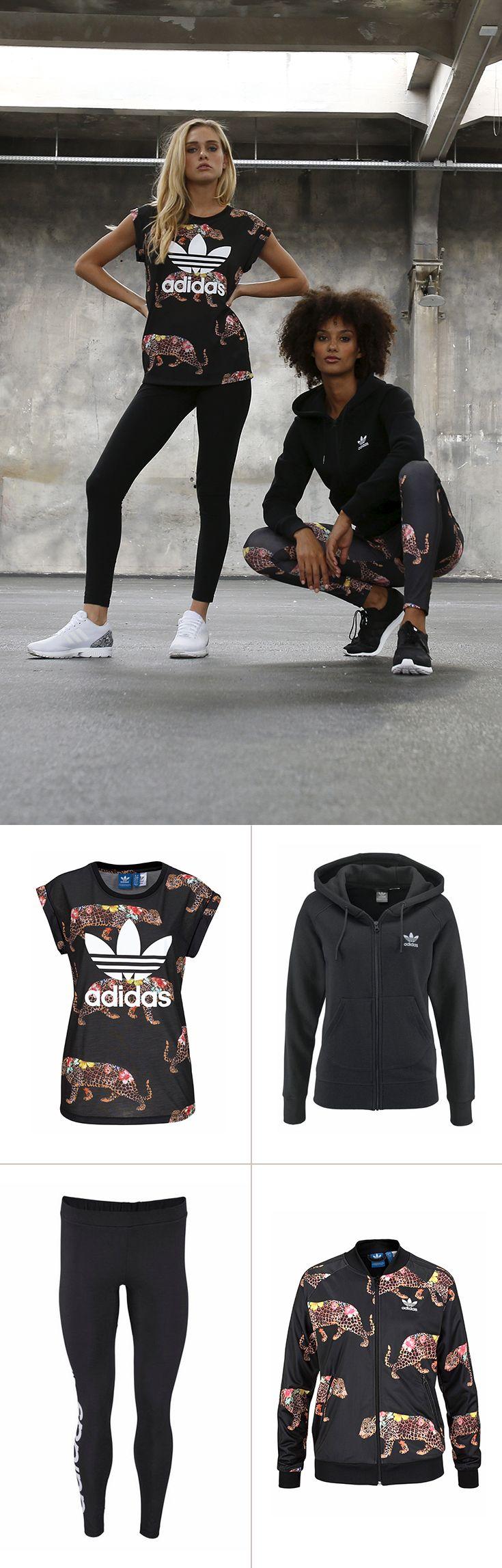 Du findest auch, dass Sport und Style unbedingt zusammengehören? Dann schau dir das an: Das adidas Originals-Shirt und die Sweatjacke begeistern mit dem außergewöhnlichen Animal-Frontprint – und sorgen in Kombination mit den schlichten Leggins für neidische Blicke im Studio.