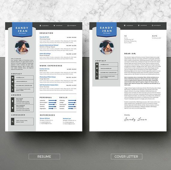 Modernresume Instant Download 2 Pages Cv Template Cover Letter Diy Printable Professional A Modern Resume Modern Resume Template Resume Design Template