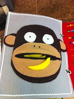 Monkey with bananas in its mouth. Awesome quiet book page!