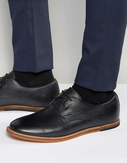 Frank Wright Busby Derby Shoes In Black Leather - $96